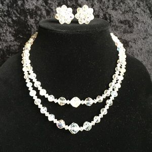 2-strand Crystal AB necklace & earring set q005